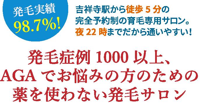 AGAでお悩みの方へ 内服薬を使わない 東京都吉祥寺駅から徒歩5分の完全予約制サロン