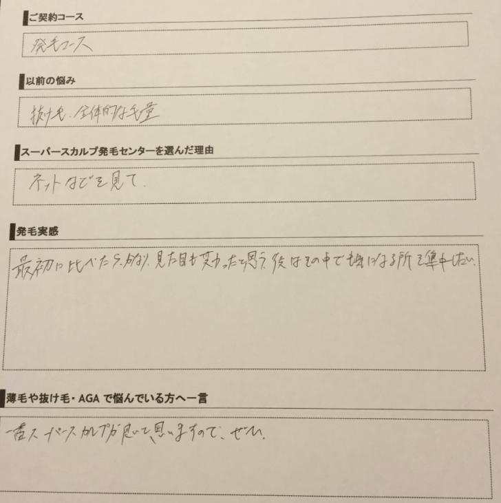 20代男性薄毛口コミ③